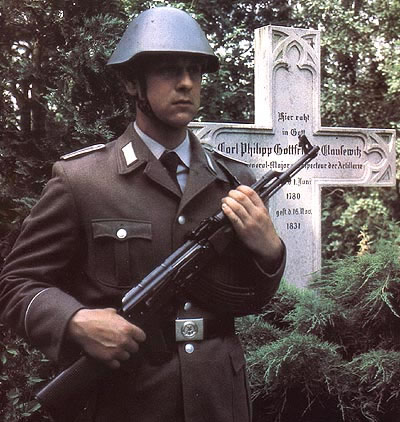 an East German soldier guarding Clausewitz's tomb